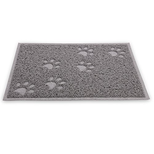 wangstar Pet Cat Litter Mat, Litter Trapper Mat, Food Mat, Kitty Litter Catcher with Scatter Control Easy to Hoover and Wipe (Grey)