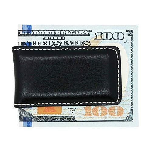 Black American Saddle Genuine Leather Magnetic Money Clip - American Factory Direct - Money Holder - Made in USA by Real Leather Creations FBA1061