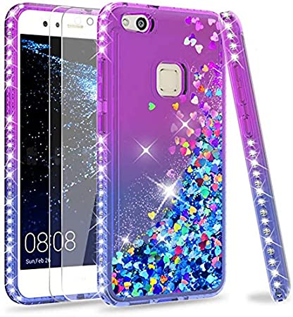 LeYi Case for Huawei P10 Lite with Glass Screen Protector [2 pack], Glitter Liquid Flow Luxury Clear Transparent Diamond Personalised TPU Silicone ...
