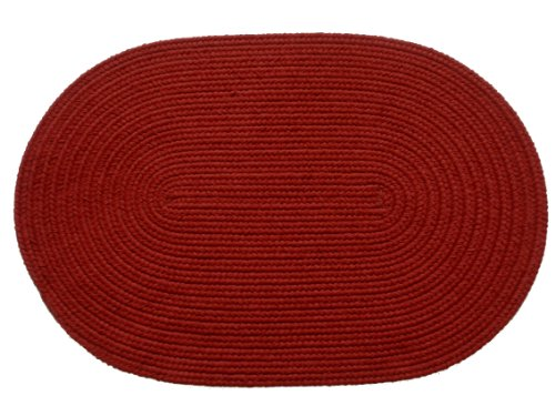 Solid polypropylene Oval Braided Rug, 2 by 3-feet, Brilliant Red