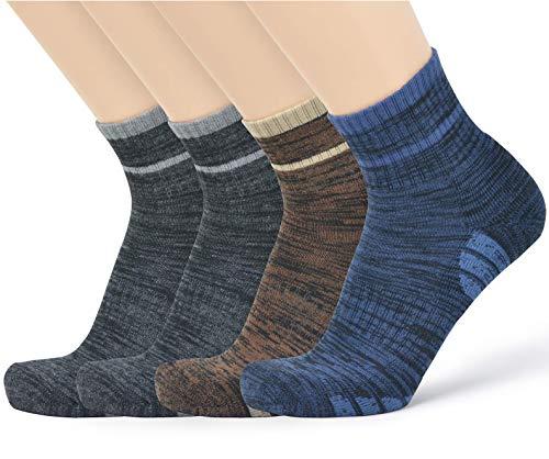 u&i Men's Performance Cushion Cotton Comfort Mid Cut Quarter Athletic Socks, Multicolor (4-Pack)
