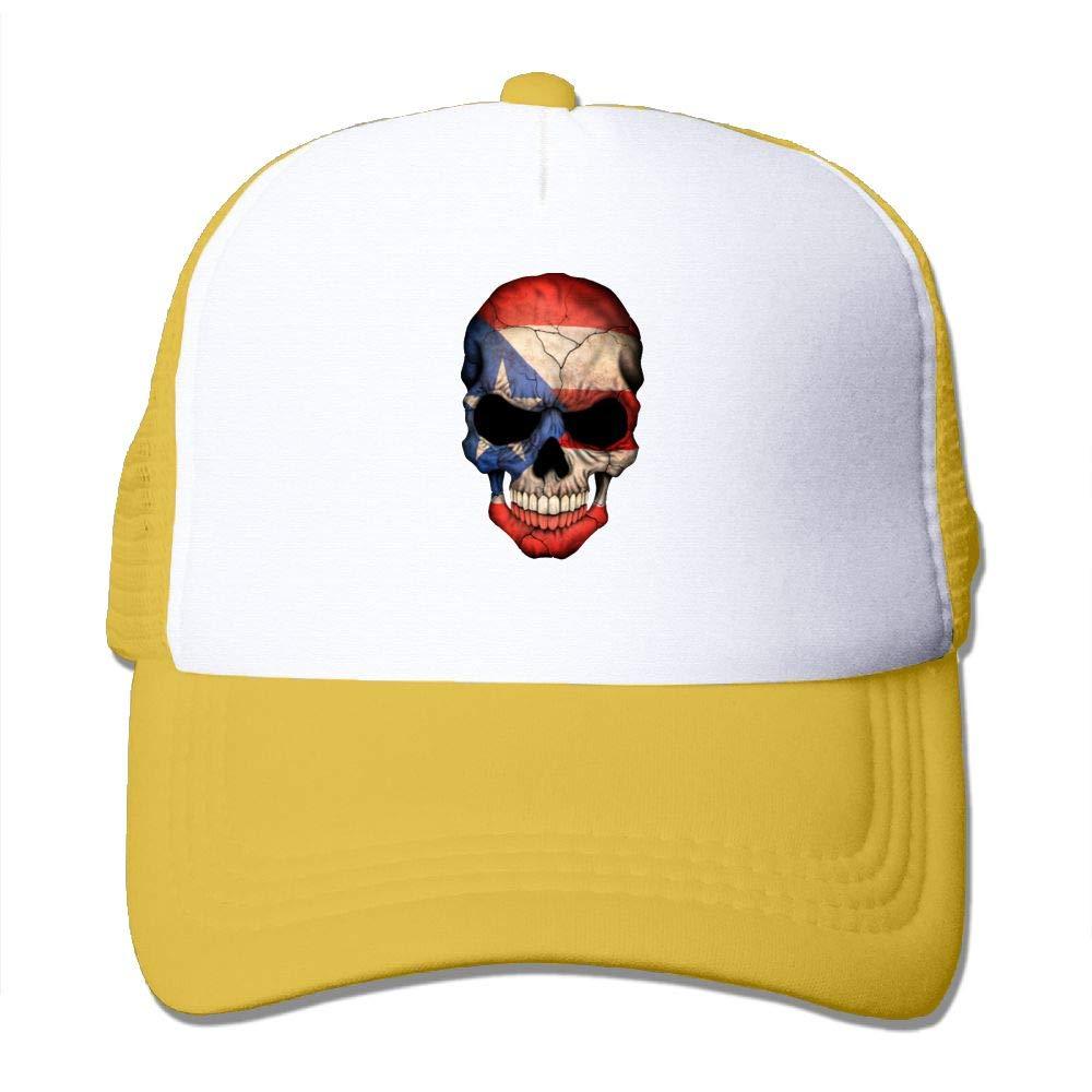 JimHappy Puerto Rican Flag Skull Baseball Hat CapAdjustable Back Mesh Cap for Men and Women