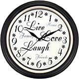 Westclox 32032 Round Live Love Laugh Message Clock, 12-Inch