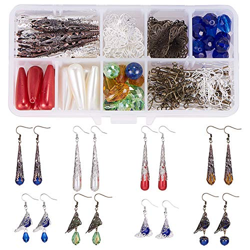 Bead Earrings Vintage - SUNNYCLUE 1 Box DIY 12 Pair Vintage Mixed Iron Long Filigree Cone Bead Caps Earring Making Starter Kit Exclusive Jewelry Kit