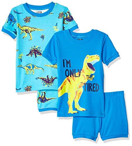 Spotted Zebra Toddler Kids 4-Piece Snug-Fit Cotton Pajama Short Set, Dinoland 4T]()