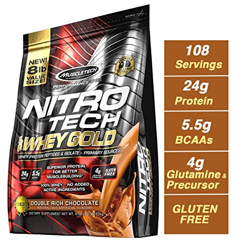 - MuscleTech NitroTech 100% Whey Gold, Whey Isolate & Peptides, Double Rich Chocolate, 8 Pound