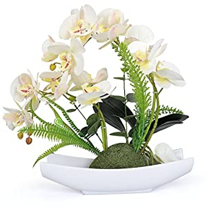 YOBANSA Orchid Bonsai Artificial Flowers with Imitation Porcelain Flower Pots Phalaenopsis Fake Flowers Arrangements for Home Decoration 119
