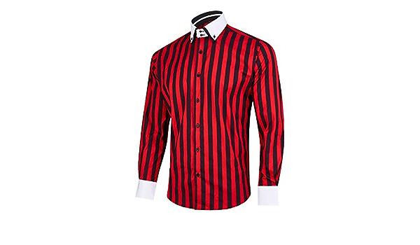 MrDoubleCollar Camisa de diseño italiano para hombre de color rojo