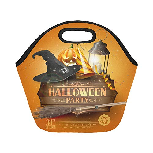 Insulated Neoprene Lunch Bag Modern Halloween Party Flyer With Old Sign Black L Large Size Reusable Thermal Thick Lunch Tote Bags For Lunch Boxes For Outdoors,work, Office, School]()