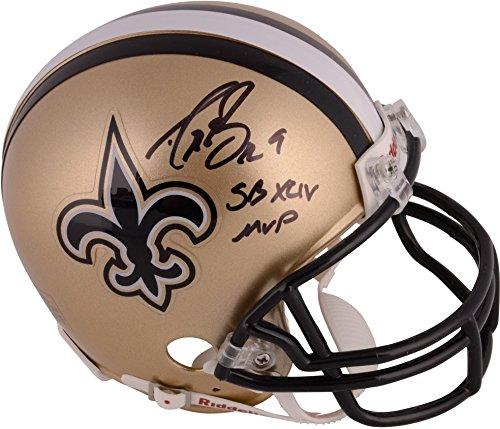 (Drew Brees New Orleans Saints Autographed Riddell Mini Helmet with SB XLIV MVP Inscription - Fanatics Authentic)