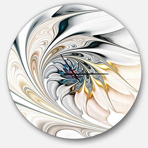 (Designart White Stained Glass Floral Oversized Modern Metal Clock, Circle Wall Decoration Art, 38x38)