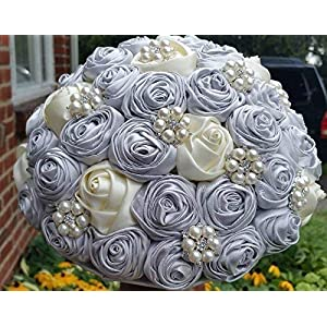 Made to order Brooch Bouquet Wedding Bridal Flowers Satin Roses Bride Bridesmaids EMR-071 59