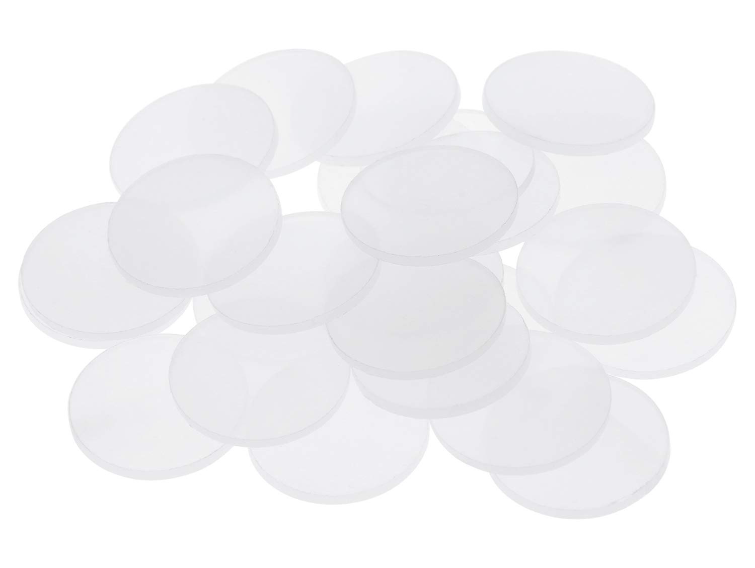 Tupalizy 1 Inch Clear Circular Acrylic Game Accessories Miniature Bases Flat Discs Counter Markers for Miniature Stands, Tabletop Decor, , Terrain Building and Cake Decoration, 1.8mm Thick, 25 Pack