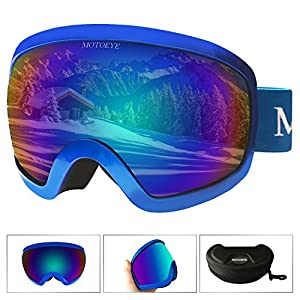 MOTOEYE Ski Goggles - Over Glasses Design Snow / Snowboard Goggle for Men,Women & Youth ( 100% UV Protection + Long-time Anti-fog + Mirrored ) (Blue)