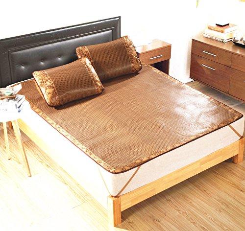 Rattan Bedding Set - Plaid&Plain Synthetic Folding Plaid Summer Sleeping Rattan Mat Set Mattress Brown 90X190