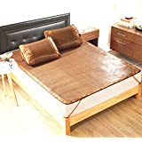 Plaid&Plain Synthetic Folding Plaid Summer Sleeping Rattan Mat Set Mattress Brown 90X190