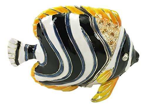 Fish Tropical Angel - Kubla Craft Tropical Angelfish Trinket Box, Accented with Austrian Crystals