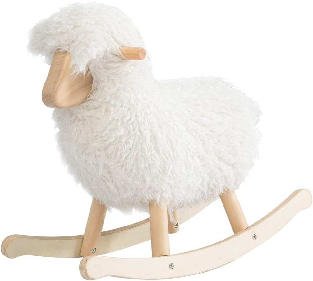 JOLIE VALLÉE TOYS & HOME White Lamb Baby Rocking Horse, Wooden Plush Rocker Toy for 1-3 Years Kids Birthday Gift (White)