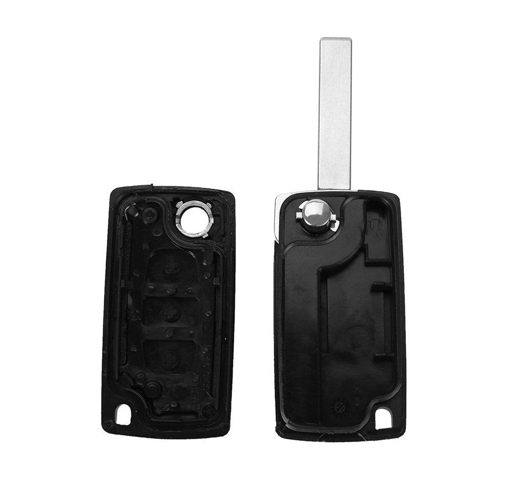 PHONILLICO Carcasa CLE Citroen C4/Picasso C5/Peugeot 3008/5008/ /Jongo Llave Mando a Distancia 3/Botones Faro Hoja con Ranura Modelo sin Espacio Pila