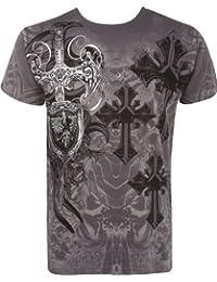 Sakkas Cross, Sword and Shield Metallic Silver Embossed Cotton Mens T-Shirt