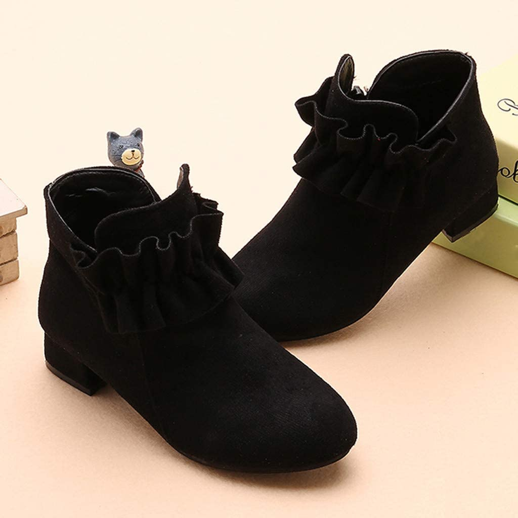 """NEW Girls Black Lace Up Boots Size 12 Winter Fashion Shoes Dressy Casual 1/"""" Heel"""