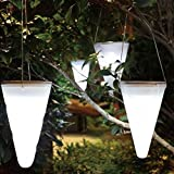 Solalite Set Of 6 Solar Outdoor Garden Hanging Tree Cornet Cone LED Lights 6 White Review