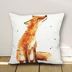 JeremyArtStore Fox accent Cotton Linen Pillow Cover 18 x 18 Inch