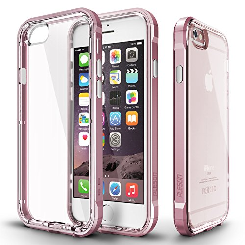 Pleson Dual Layer Polycarbonate Crystal Clear Back Bumper Case with Screen Protector for Apple iPhone 6s Plus/6 Plus - Crystal Rose Gold