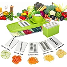Baban Multi-function Food Slicer, Mandolin Vegetable Slicer Vegetable Grater -Cutter for Cucumber, Onion, Cheese , Adjustable Mandoline with 5 Thickness Settings Interchangeable Stainless Steel Blades + Food Container + Safety Food Holder + Butting Board + Blade Storage Box