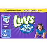 Health & Personal Care : Branded Luvs Super Absorbent Leakguards Diapers, Size 4, 144 Diapers , Weight 22-37lbs - Branded Diapers with fast delivery (Soft and Comfortable for Babies)