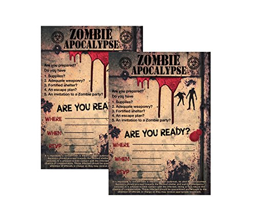 Zombie Party Supplies and Decorations (Invitations) 12 Invites with Envelopes