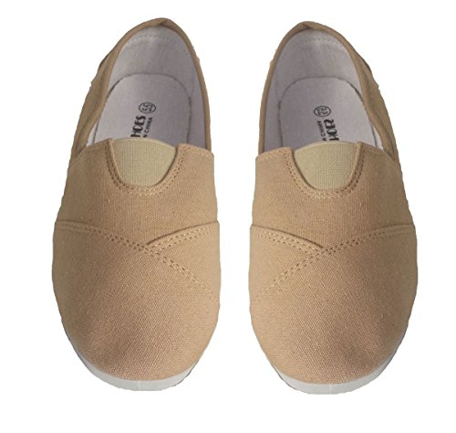 Elegant Womens Beige Plain Canvas Slip-on Flat Shoes, Espadrille Loafers Beige