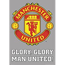 England Manchester United Glory Glory English Football Club Crest Motto Sports Fan Soccer Poster Print 24x36