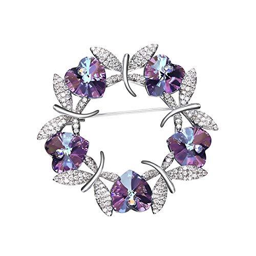- KnSam Crystal from Austrian Heart Shape Rhinestones Wreath Dragonfly Brooch Pin Purple