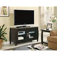 TV Stands 700647 47 TV Console with 2 Glass Doors 2 Shelves Bowed Frame Design Smooth Top and Silver Metal Handles in Cappuccino Finish