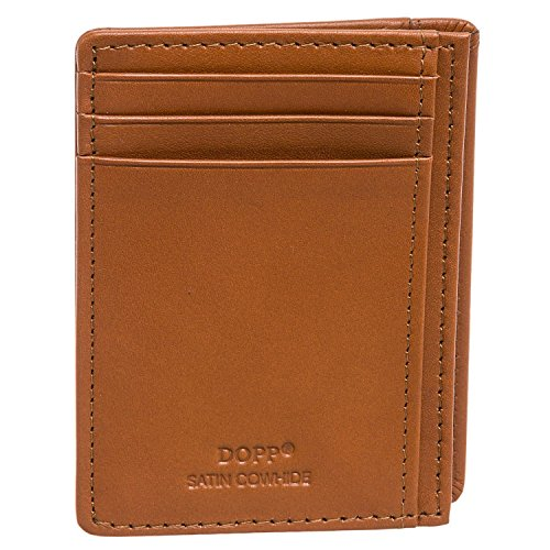 Dopp Leather Slim Wallet RFID Front Pocket Wallet Minimalist Thin Credit Card Holder (Tan)