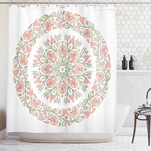 (Lunarable Dusty Rose Shower Curtain, Mandala Inspired Floral Round with Curvy Branches and Blossoms, Fabric Bathroom Decor Set with Hooks, 70 inches, Light Pink Reseda Green)