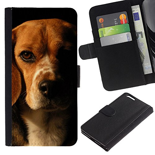EuroCase - Apple Iphone 6 PLUS 5.5 - beagle brown black dog pet - Cuero PU Delgado caso cubierta Shell Armor Funda Case Cover