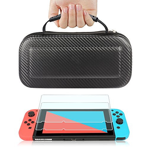 (TJS Case for Nintendo Switch with [2 Pack Tempered Glass Screen Protector] Carbon Fiber Texture Hard Travel Carrying Case Shell Carry Pouch - Black)