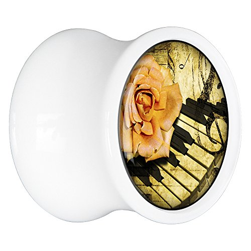 Piano Plug Saddle - Body Candy White Acrylic Rose on The Piano Saddle Ear Gauge Plug Pair 20mm