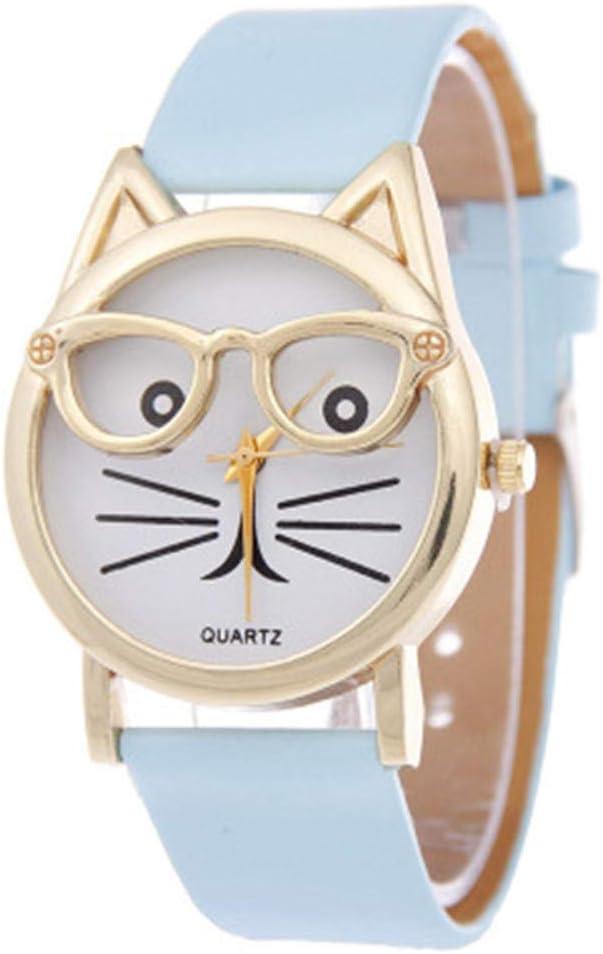 SDGSS Reloj de Pulsera diseño de Dibujos Animados y Gafas, para Estudiantes, con Correa de Cuarzo, para Mujer