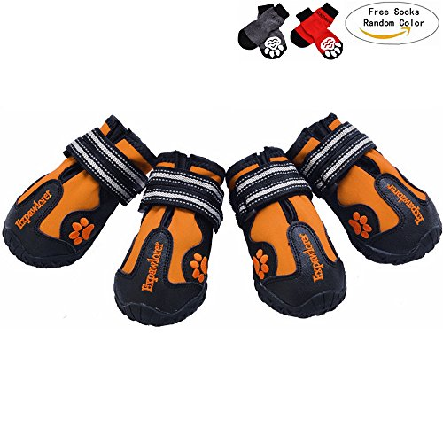 Waterproof Dog Boots with Reflective Velcro and Anti-Slip Sole for Medium to Large Dogs, Orange 4