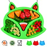 SJ Baby Placemat Fox Silicone Placemat Feeding Plate for Children, Kids, Toddlers, Non-Slip Baby Plates, Dishwasher and Microwave Safe - Soft FDA/LFGB Certified Silicone (Green)