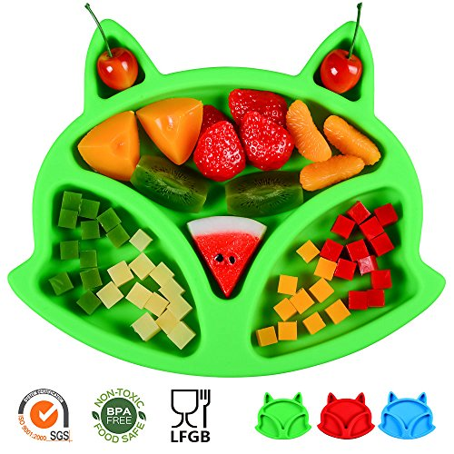 SJ Baby Placemat Fox Silicone Placemat Feeding Plate for Children, Kids, Toddlers, Non-Slip Baby Plates, Dishwasher and Microwave Safe - Soft FDA/LFGB Certified Silicone (Green) by SJ