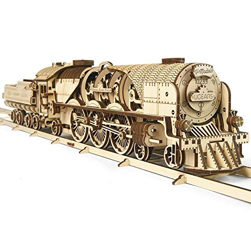 UGEARS V-Express Steam Train with Tender 3D Wooden Model Self Assembling Best Adult and Teens Gift