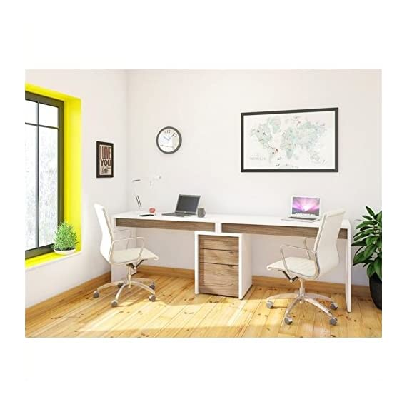 Nexera Liber-T 3 Piece Office Set in White with Desk Panel - Filing Cabinet has quality engineered wood construction White & Satin Texture Walnut Melamine Two utility drawers - writing-desks, living-room-furniture, living-room - 51HN3iH76ZL. SS570  -