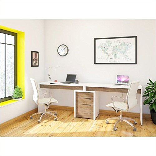 - Nexera Liber-T 3 Piece Office Set in White with Desk Panel