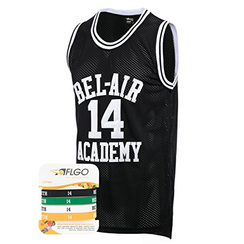 AFLGO Fresh Prince of Bel Air #14 Basketball Jersey S-XXXL Black – 90s Clothing Throwback Will Smith Costume Athletic Apparel Clothing Top Bonus Combo Set with Wristbands