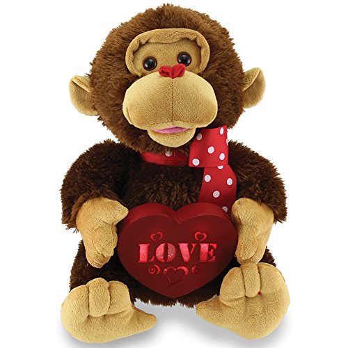 Valentine animated stuffed animals - Animated Singing And Dancing Lucky In Love Valentine's Monkey Stuffed Plush