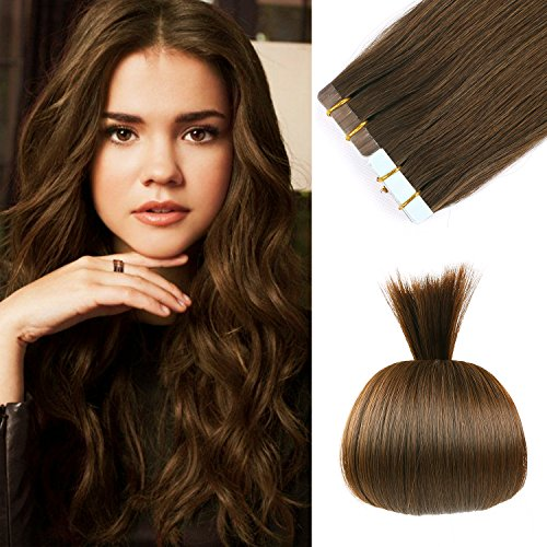 16 inches Remy Tape in Extensions Human Hair Full Cuticle Virgin Hair Straight 40g 20pcs Color No.4 Medium Brown (Real Hair Extensions European 100)